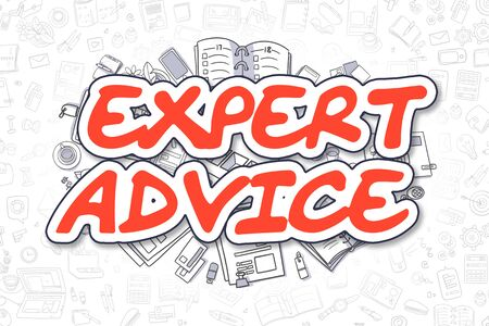 Expert Advice - Sketch Business Illustration. Red Hand Drawn Word Expert Advice Surrounded by Stationery. Doodle Design Elements. Stock Photo