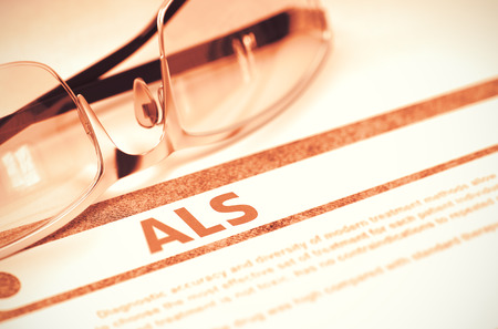 atrophy: Diagnosis - ALS - Amyotrophic Lateral Sclerosis. Medical Concept with Blurred Text and Spectacles on Red Background. Selective Focus. 3D Rendering.