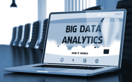 outcomes: Big Data Analytics on Landing Page of Laptop Screen in Modern Conference Hall Closeup View. Toned Image. Blurred Background. 3D Rendering.