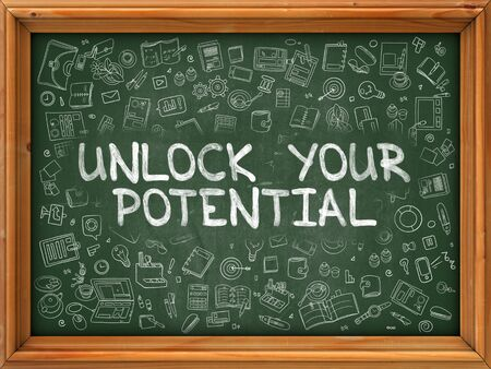 potential: Hand Drawn Unlock Your Potential on Green Chalkboard. Hand Drawn Doodle Icons Around Chalkboard. Modern Illustration with Line Style. Stock Photo