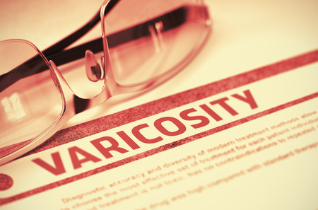 stasis: Diagnosis - Varicosity. Medicine Concept on Red Background with Blurred Text and Eyeglasses. Selective Focus. 3D Rendering.