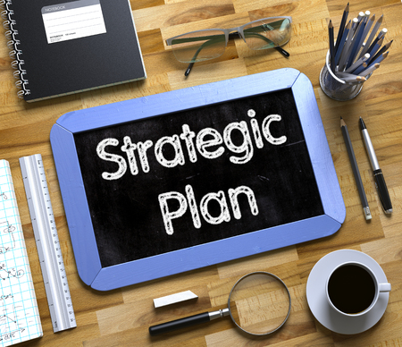 strategic plan: Small Chalkboard with Strategic Plan. Strategic Plan. Business Concept Handwritten on Blue Small Chalkboard. Top View Composition with Chalkboard and Office Supplies on Office Desk. 3d Rendering.