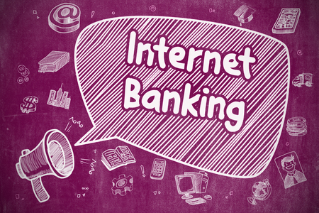 internet banking: Business Concept. Horn Speaker with Phrase Internet Banking. Cartoon Illustration on Purple Chalkboard. Stock Photo