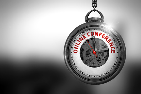 online conference: Vintage Pocket Clock with Online Conference Text on the Face. Business Concept: Online Conference on Vintage Pocket Clock Face with Close View of Watch Mechanism. Vintage Effect. 3D Rendering.
