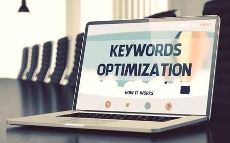 keywords link: Keywords Optimization Concept. Closeup Landing Page on Laptop Display on Background of Conference Room in Modern Office. Toned Image. Selective Focus. 3D.