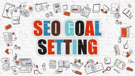goal setting: SEO - Search Engine Optimization - Goal Setting. Multicolor Inscription on White Brick Wall with Doodle Icons Around. SEO - Search Engine Optimization - Goal Setting on White Brickwall Background.