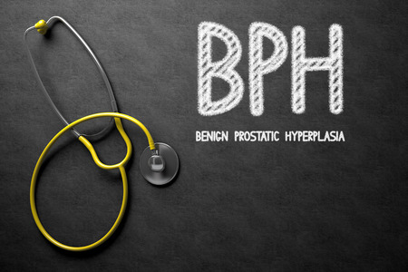 hesitancy: Medical Concept: Black Chalkboard with BPH - Benign Prostatic Hyperplasia. Black Chalkboard with BPH - Benign Prostatic Hyperplasia - Medical Concept. 3D Rendering.