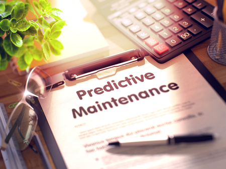predictive: Predictive Maintenance on Clipboard. Wooden Office Desk with a Lot of Business and Office Supplies on It. 3d Rendering. Toned Illustration. Stock Photo