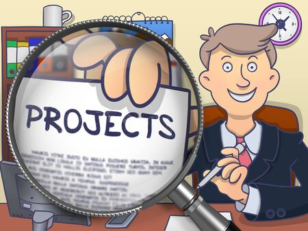 pm: Projects on Paper in Businessmans Hand to Illustrate a Business Concept. Closeup View through Lens. Colored Doodle Style Illustration. Stock Photo