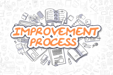 growth enhancement: Improvement Process - Hand Drawn Business Illustration with Business Doodles. Orange Word - Improvement Process - Doodle Business Concept. Stock Photo