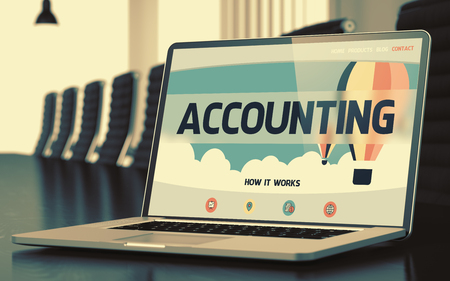 stocktaking: Accounting. Closeup Landing Page on Mobile Computer Screen. Modern Meeting Hall Background. Toned Image. Blurred Background. 3D.