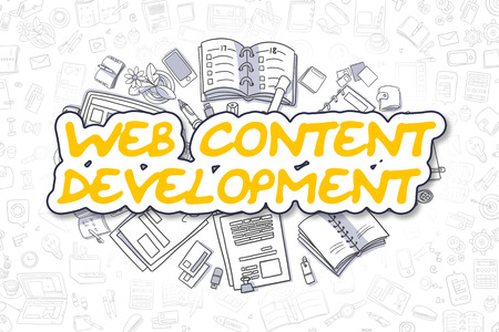 rewriting: Doodle Illustration of Web Content Development, Surrounded by Stationery. Business Concept for Web Banners, Printed Materials.