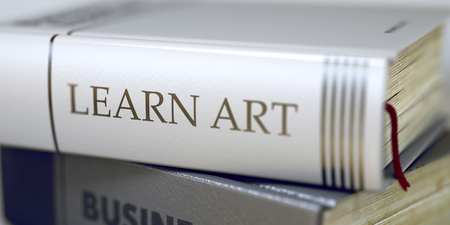 assiduous: Learn Art - Leather-bound Book in the Stack. Closeup. Book in the Pile with the Title on the Spine Learn Art. Blurred Image with Selective focus. 3D Rendering.