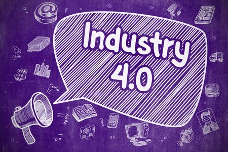 flexible business: Industry 4.0 on Speech Bubble. Cartoon Illustration of Yelling Bullhorn. Advertising Concept. Screaming Horn Speaker with Wording Industry 4.0 on Speech Bubble. Doodle Illustration. Business Concept.