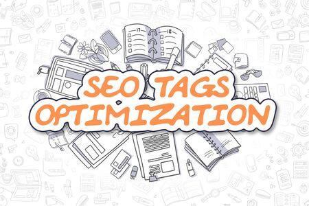 Business Illustration of SEO Tags Optimization. Doodle Orange Text Hand Drawn Cartoon Design Elements. SEO Tags Optimization Concept.