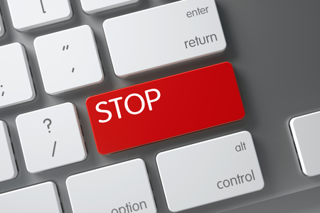 stoppage: Stop Concept Modernized Keyboard with Stop on Red Enter Button Background, Selected Focus. 3D Render.