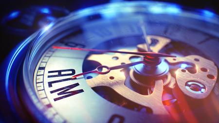 lifecycle: La cara del reloj con ALM - Aplicación de Gestión del ciclo de vida de la inscripción, vista de cerca de reloj Mecanismo. Concepto de negocio. Efecto película. Render 3D. Foto de archivo