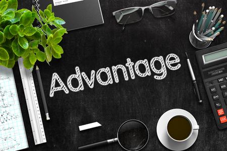 prevalence: Advantage Concept on Black Chalkboard. 3d Rendering. Toned Image. Stock Photo