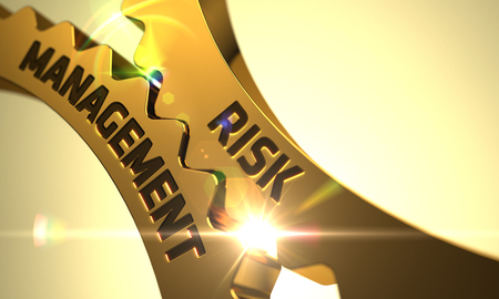 financial diversification: Golden Cog Gears with Risk Management Concept. 3D.