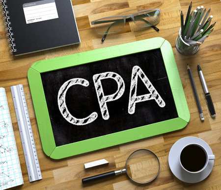 cpa: CPA - Text on Small Chalkboard.CPA Handwritten on Green Chalkboard. Top View Composition with Small Chalkboard on Working Table with Office Supplies Around. 3d Rendering.