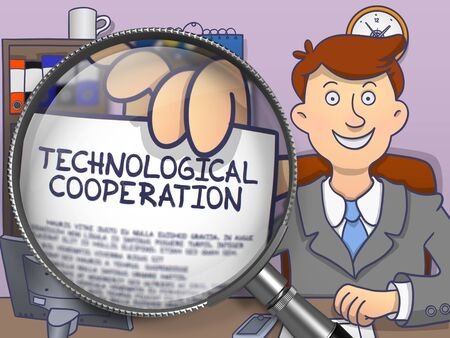 offiice: Technological Cooperation. Cheerful Officeman Sitting in Offiice and Showing Paper with Concept through Magnifier. Multicolor Doodle Style Illustration. Stock Photo