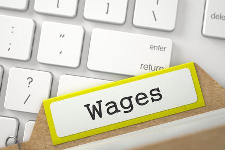 salarios: Salarios escritos en la tarjeta de archivo de color amarillo se superpone Teclado moderno. Primer punto de vista. Imagen borrosa. Representación 3D. Foto de archivo