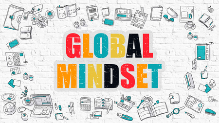 mindset: Global Mindset Concept. Global Mindset Drawn on White Wall. Global Mindset in Multicolor. Modern Style Illustration. Doodle Design Style of Global Mindset. Line Style Illustration. White Brick Wall. Stock Photo