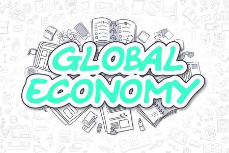 relaciones laborales: Ilustración del asunto de la economía global. Doodle verde inscripción dibujados a mano elementos de diseño de dibujos animados. Concepto de la economía mundial.