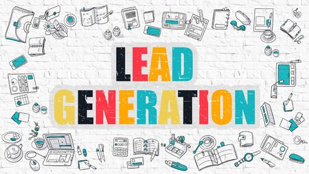 lead: Lead Generation Concept. Lead Generation Drawn on White Brick Wall. Lead Generation in Multicolor. Modern Style Illustration. Doodle Design Style of Lead Generation. Line Style Illustration.