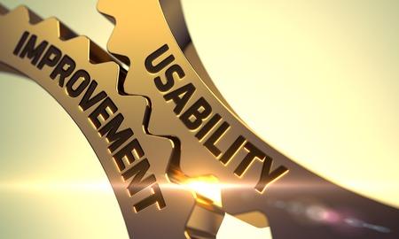 Usability Improvement on the Golden Metallic Cogwheels. 3D. Reklamní fotografie