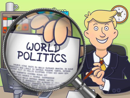 offiice: Businessman Sitting in Offiice and Showing Text on Paper World Politics. Closeup View through Magnifying Glass. Colored Modern Line Illustration in Doodle Style.