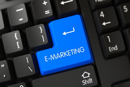 emarketing: Blue E-Marketing Key on Keyboard. 3D Illustration.
