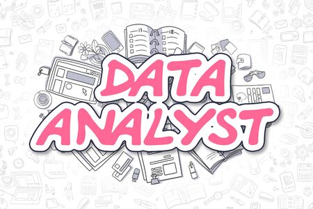 an analyst: Magenta Inscription - Data Analyst. Business Concept with Doodle Icons. Data Analyst - Hand Drawn Illustration for Web Banners and Printed Materials. Stock Photo