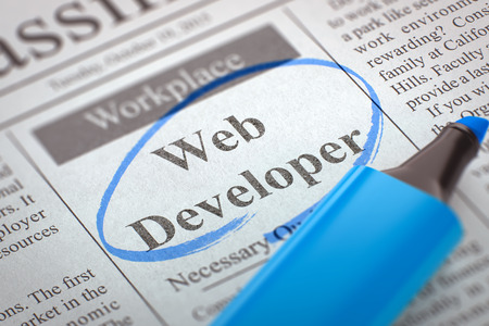 web developer: A Newspaper Column in the Classifieds with the Vacancy of Web Developer, Circled with a Blue Highlighter. Blurred Image with Selective focus. Concept of Recruitment. 3D Rendering.