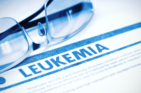 malignant neoplasm: Leukemia - Medical Concept with Blurred Text and Pair of Spectacles on Blue Background. Selective Focus. 3D Rendering.