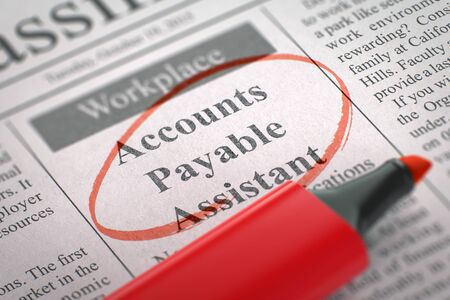 payable: A Newspaper Column in the Classifieds with the Jobs of Accounts Payable Assistant, Circled with a Red Marker. Blurred Image with Selective focus. Concept of Recruitment. 3D Render. Stock Photo