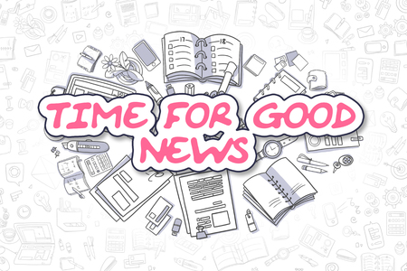 good news: Business Illustration of Time For Good News. Doodle Magenta Word Hand Drawn Cartoon Design Elements. Time For Good News Concept. Stock Photo