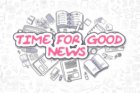 Ilustración del asunto de tiempo para la Buena Nueva. Doodle magenta Palabra dibujados a mano elementos de diseño de dibujos animados. Tiempo para el bueno concepto de noticias.