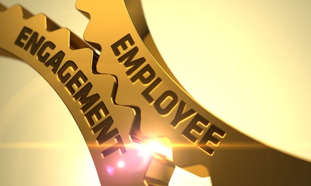 Employee Engagement on Mechanism of Golden Gears with Lens Flare. 3D Render. Archivio Fotografico
