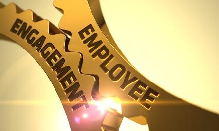 Employee Engagement on Mechanism of Golden Gears with Lens Flare. 3D Render. Foto de archivo