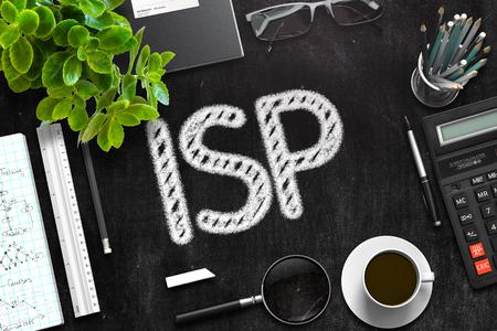 isp: ISP Handwritten on Black Chalkboard. 3d Rendering. Toned Image. Stock Photo