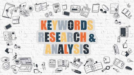 meta analysis: Keywords Research and Analysis - Multicolor Concept with Doodle Icons Around on White Brick Wall Background. Modern Illustration with Elements of Doodle Design Style.