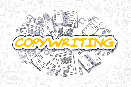 copywriting: Yellow Word - Copywriting. Business Concept with Cartoon Icons. Copywriting - Hand Drawn Illustration for Web Banners and Printed Materials. Stock Photo