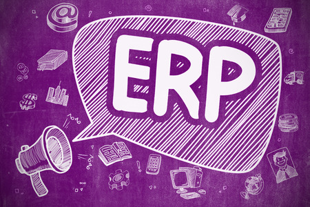 erp: Business Concept. Mouthpiece with Text ERP - Enterprise Resource Planning. Cartoon Illustration on Purple Chalkboard.