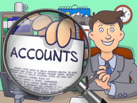 Officeman Shows Paper with Text Accounts. Closeup View through Lens. Multicolor Modern Line Illustration in Doodle Style. Stock Photo