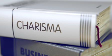 charisma: Book Title on the Spine - Charisma. Closeup View. Stack of Books. Close-up of a Book with the Title on Spine Charisma. Book Title of Charisma. Charisma - Business Book Title. Blurred. 3D.
