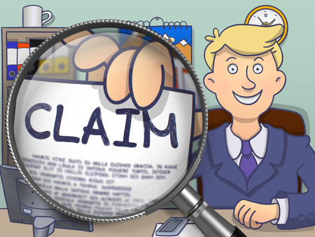 insurance claim: Claim. Paper with Concept in Mans Hand through Magnifying Glass. Colored Modern Line Illustration in Doodle Style.