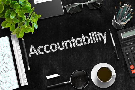 accountability: Accountability on Black Chalkboard. Black Chalkboard with Accountability Concept. 3d Rendering.