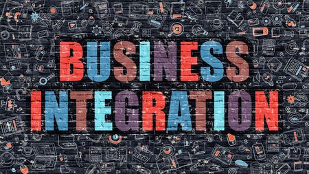 competitividad: Negocios concepto de integración. Integración de empresa elaborados oscuro en la pared. Integración de negocio en multicolor. Negocios concepto de integración. Ilustración de diseño moderno del Doodle de Business Integration.