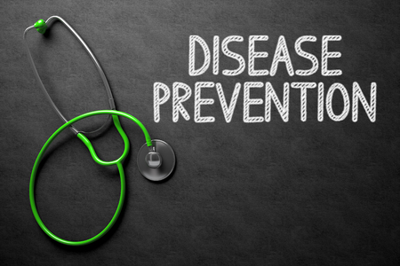 disease prevention: Medical Concept: Disease Prevention -  Black Chalkboard with Hand Drawn Text and Green Stethoscope. Top View. Medical Concept: Disease Prevention Handwritten on Black Chalkboard. 3D Rendering.